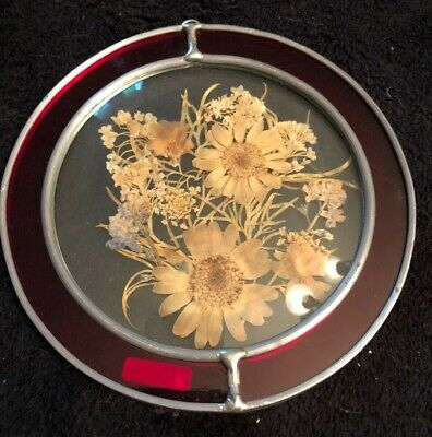 """Hand Crafted Leaded Stained Glass Red with dried Flowers Sun Catcher Ornament 5"""""""
