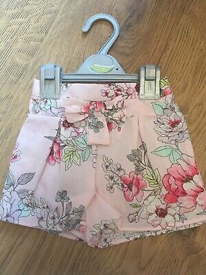 Baby Girls Pretty Pink Floral Shorts With Bow Waist 1-1.5 Years