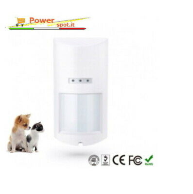 Wireless PIR SENSORE MOVIMENTO DA ESTERNO ALLARME VOLUMETRICO PET IMMUNE ANIMALI