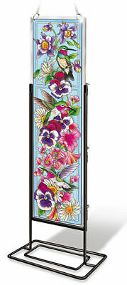 AMIA Glass Hummingbirds & Floral Rectangle w/ Stand Suncatcher - Hand Painted