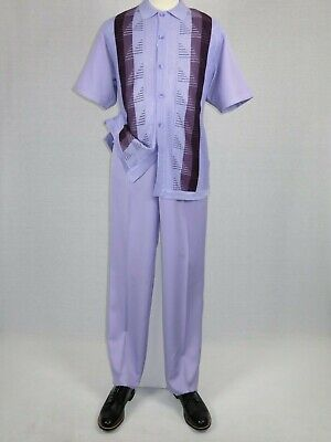 Mens SILVERSILK Two Piece Walking Leisure Suit Knits Matching Set 6322 Lavender