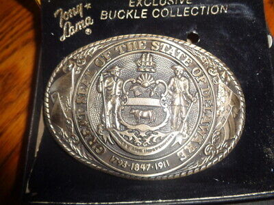 1970's Tony Lama 1st Edition State Seal Brass Belt Buckle Delaware