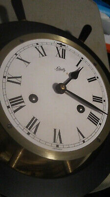 Vintage Schatz Ship Bell Brass Wall Clock Wood Wheel Germany NON-WORKING