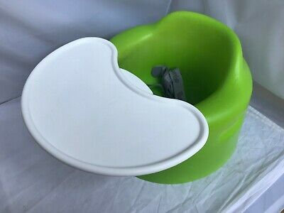 Bumbo Baby Floor Seat and Tray Bright Lime Green Belt Attached Clean EXCELLENT