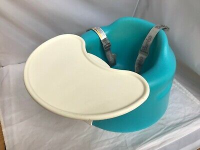 Bumbo Baby Floor Seat and Tray Blue  Belt Attached Clean EUC Free Ship