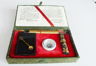 Small 2 Wood Brush/pen Chinese Calligraphy Set Ink Writing Boxed