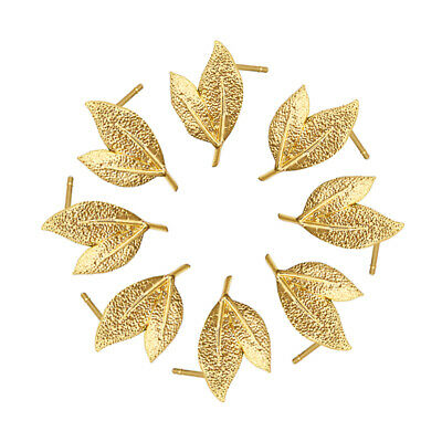 10x Bumpy Brass Leaf Earring Posts Gold Plated Dangle Stud Findings Loop 15.5mm