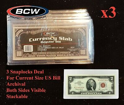 X3 Currency Banknote Snaplock Bill Slabs Holder Regular Modern Notes Clear BCW 3