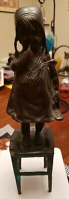 """Bronze Statue After Juan Clara 12"""" Young Girl Standing on Stool Holding Shoe"""