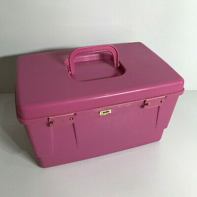 Retro Pink! Colour Nally Sewing Box/ Carry Case Has Lift Out Tray/Insert Singer