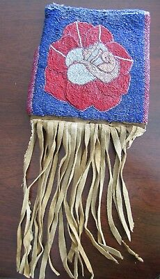 Antique Nez Perce Yakima Beaded Bag Front  excellent example of Plateau floral