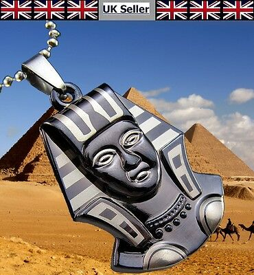 Unisex Titanium Steel Pendant Egyptian Pharaoh Necklace approx 60cm UK Seller