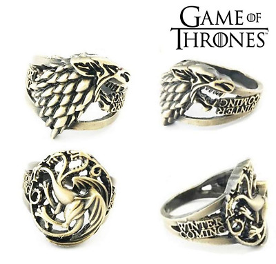 New Game of Thrones Stark Targaryen Brozen Ring Unisex Metal Figure Rings 20mm