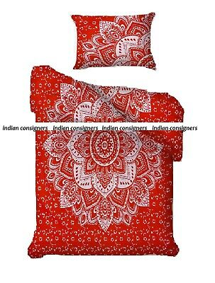 Cotton Twin Duvet Cover Indian Flower Ombre Mandala Red Silver Color Hippie Art