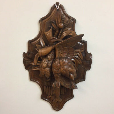 Nice large carved wooden Black Forest wall trophy, ca. 1900.