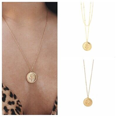 Women Chain Fashion Vintage Gold Rose Flower Necklace Pendant Chunky Charm