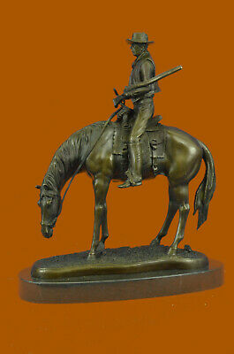 Hand Made Bronze Cowboy on Horse Statue - Southwestern Objects Figurines Figure