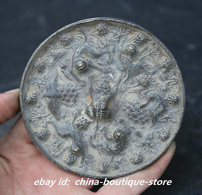 """3.7"""" Collect Chinese Bronze Ancient Tang Dynasty Sea Beast Grape Bronze Mirror"""