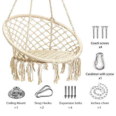 Hammock Macrame Swing Chair White Hanging Twisted Rope Tassels Indoor Outdoor