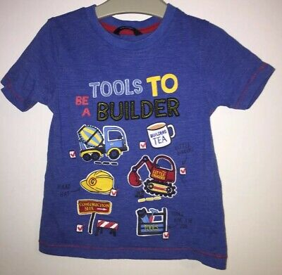 Baby Boys Blue T Shirt with Tools to be a Builder detail