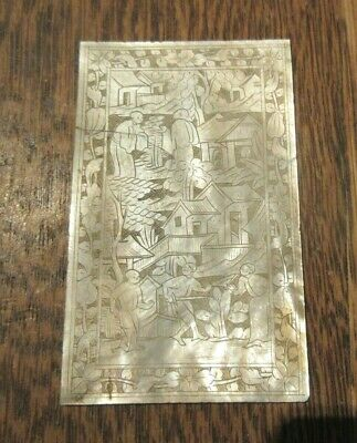 Antique Chinese Carved  Mother Of Pearl  Panel Lid Scholars Elders Gardens