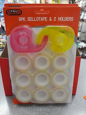 New 9 STICKY TAPE & 2 x DISPENSER Sellotape Holder Office School Home Wrapping