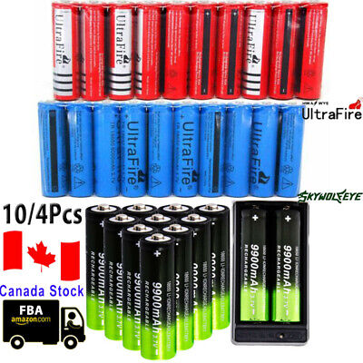 10pcs 6000mAh 18650 Battery 3.7V Rechargeable Smart Charger Skywolfeye Lot CAN