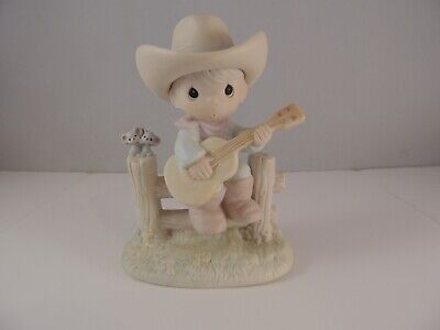 Precious Moments Hallelujah Country Figurine Boy Guitar 105821 Cowboy fence mice