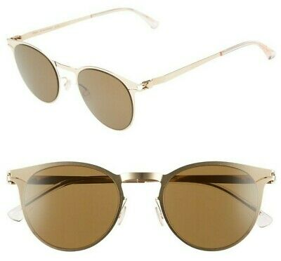 08c29e8bb34c NWT Mykita No.1 Sun Federico 55mm Round Sunglasses Champagne Gold / Brown
