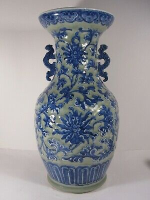 47 cm LARGE celadon relief QIANLONG  Chinese porcelain vase blue withe 18th19thc