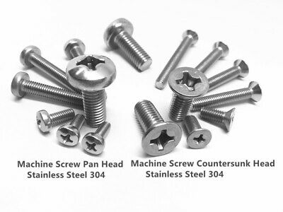 M2 M2.5 M3 M4 Machine Screw Pan Head Countersunk Head Stainless Steel 304