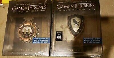 Game of Thrones Season 3 4 Best Buy STEELBOOK Blu-ray/Digital Third Fourth NEW!!