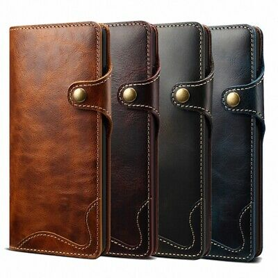 For Samsung Galaxy S10e S9 Note 10+ 100% Genuine Leather Wallet Flip Cover Case