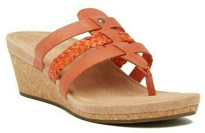 bb54dfca11 UGG Maddie Wedge Sandals Women's Leather Thong Toe Flip Flop in Fire Opal  Size 9