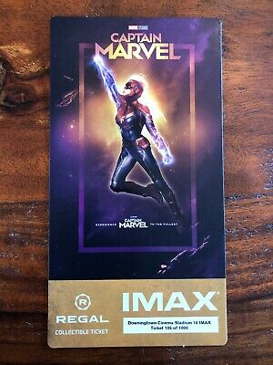 Captain Marvel Regal IMAX Collectible Ticket Brie Larson Goose /1000 Free Poster