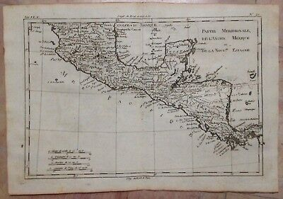 CENTRAL AMERICA MEXICO 1780 by RIGOBERT BONNE ANTIQUE ENGRAVED MAP 18TH CENTURY