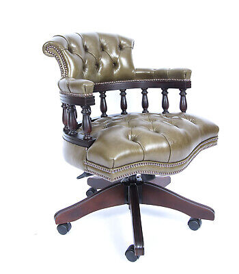 Bespoke English Hand Made Leather Captains Desk Chair Olive Green