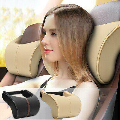 2Pcs Leather Memory Foam Car Neck Rest Pillow Safety Cushion Head Support
