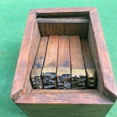 Vintage Brass & Oak Marking Punches 5 No  7.1/4 to 8 In Original Wooden Box