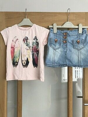 Next Girls Summer Outfit Age 5 Years Top & Skirt