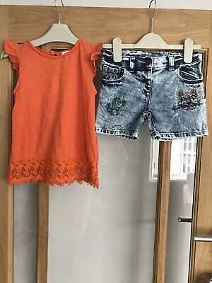 Next Girls Cactus Denim Shorts & Top Age 5 Years Outfit