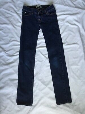 a90e1ef47 ABERCROMBIE KIDS GIRLS Skinny Jeans Dark Wash Distressed Ripped Size ...