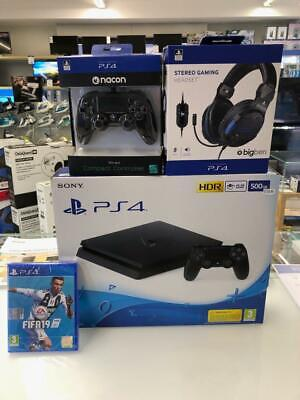 SONY CONSOLE GAME PS4 500GB  + joypad NACON WIRED + CUFFIE BIGBEN + FIFA 19