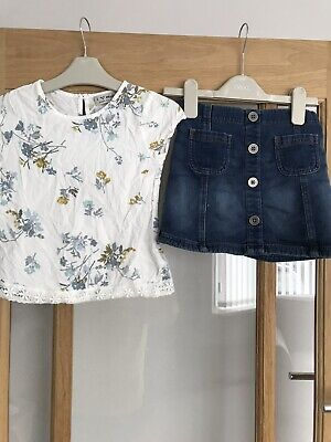 Next Girls Pretty Top & Denim Skirt Outfit Age 5 Years