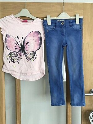 Next Girls Outfit Age 5 Years Skinny Jeans & Bfly Top