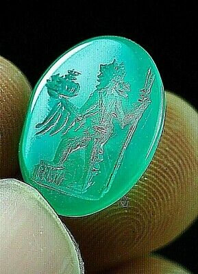 Ancient JADE Intaglio Signet Demeter goddess Holding Bouquet Greek Bead