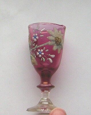 Cranberry & Clear Glass VICTORIAN CORDIAL GLASS - pontil hand paint flower 3.5in