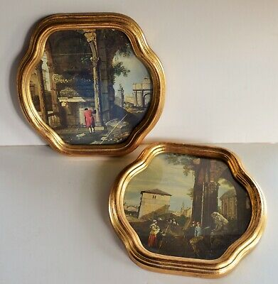 "Pair of Italian Florentine Gold Frames 9"" x 9"" Landscape Prints by Canaletto"