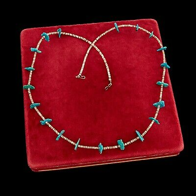 Antique Vintage Sterling Silver Native Navajo Turquoise Pen Shell Bead Necklace