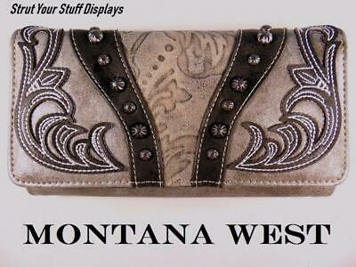 1 MONTANA WEST EmbroideredTooled GREY WALLET. NEW. Wristlet Strap Cell ph Pocket